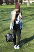 blue denim H&M blouse - black H&M jeans - crimson beanie H&M hat