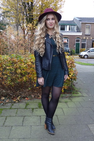 black we jacket - forest green Primark dress - crimson Primark hat