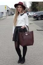 black faux leather H&M skirt - black H&M boots - crimson Primark hat