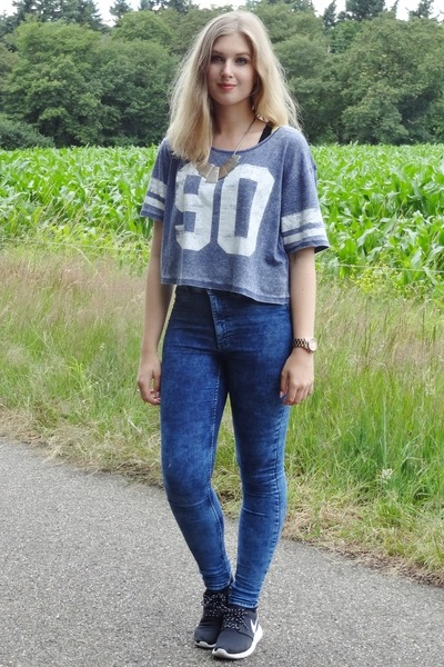 Navy High Waisted H&m Jeans