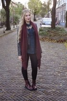 H&M necklace - crimson H&M boots - black we jacket - black Zara leggings