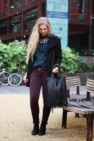 black H&M shoes - black H&M coat - black fringe H&M bag