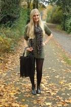 fringe H&M bag - H&M boots - Kenzaanl sweater - leopard H&M scarf