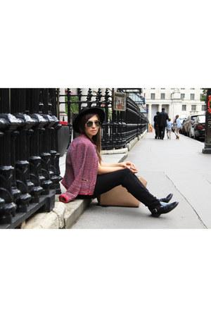 black Zara boots - black Topshop hat - coral Zara jacket