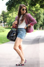 Red-zara-jacket-blue-diy-shorts-white-bennetton-t-shirt