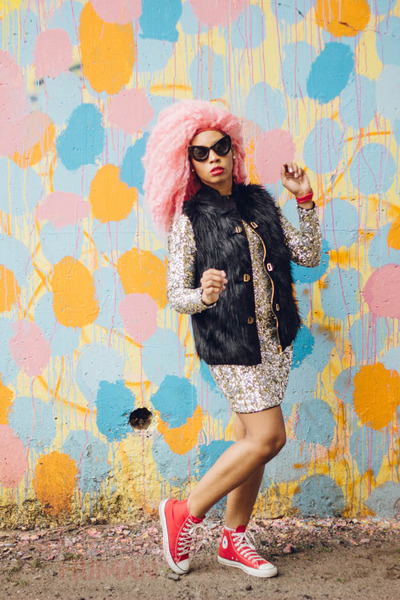 black RETRO CITY sunglasses - red Converse shoes - beige sequins dress