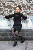 black Steve Madden shoes - black lace detail Zara shirt - black lace DKNY tights