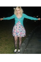 turquoise blue H&M cardigan - bubble gum H&M dress - white Deena & Ozzy shoes