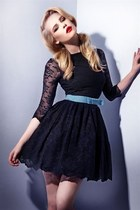 sky blue belt - black dress