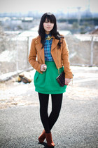 Zara skirt - H&M boots - brown H&M jacket - plaid MOfficer shirt - thrifted bag