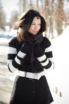 long Cori vest - striped Theory sweater - Shimamura scarf - silver vintage belt