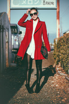 ruby red Burberry Blue Label coat - black PERSUNMALL boots