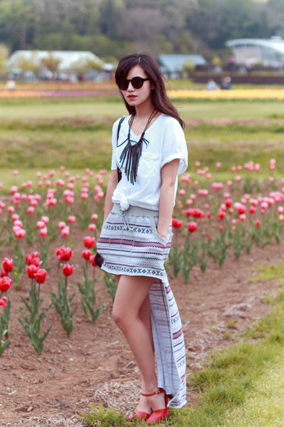 fringe DIY necklace - vintage shoes - Marc by Marc Jacobs bag - H&M sunglasses
