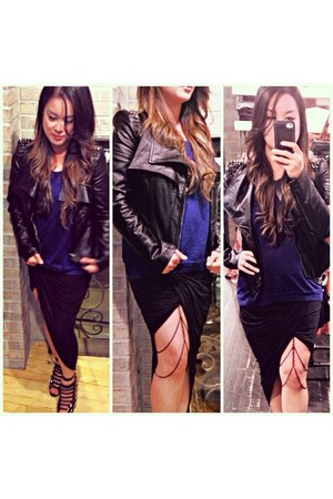 black Forever 21 skirt - black blazer - blue top - black thigh chain accessories