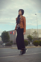 tawny leather jacket - deep purple velvet maxi skirt - black wedges