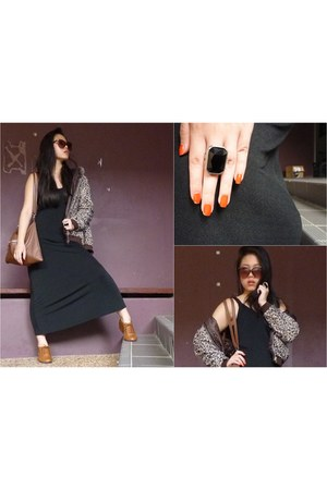 brown wedges - leopard print jacket - black onyx cotton on ring