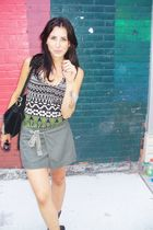 green Forever 21 top - green Diesel skirt - gray Aldo boots - black vintage purs