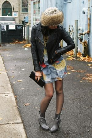 BB Dakota dress - vintage jacket - Aldo necklace - from NYC hat - Spring boots