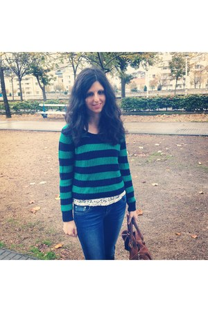 green Forever 21 sweater - blue jeans - brown bag - white Stradivarius t-shirt
