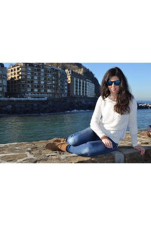 white Stradivarius sweater - brown boots - blue jeans - blue sunglasses