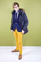 navy Matinique coat - bronze lion shoes - navy Matinique blazer