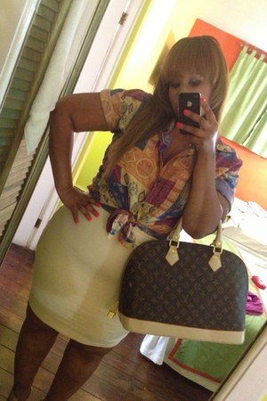 brown Louis Vuitton bag - vintage blouse - ivory American Apparel skirt
