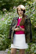hot pink knit Primark jumper - army green camo vintage jacket