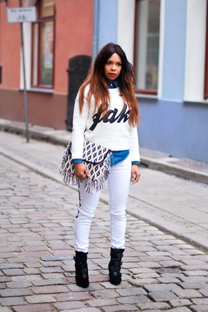 white Zara jeans - black Isabel Marant boots - white Atmosphere sweater