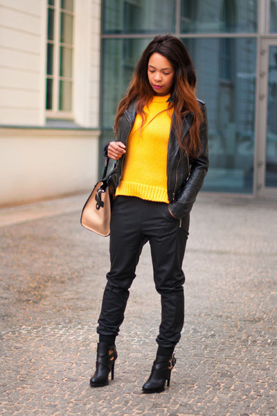 orange Zara sweater - black Zara boots - black TK Maxx jacket - black Zara pants