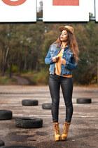 sky blue Zara jacket - gold Primark top - black Stradivarius pants