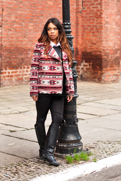 Forever 21 jacket - black Zara boots - black pull&bear sweater
