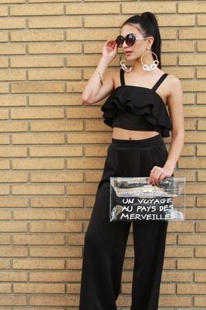 white UrbanOG bag - black UrbanOG top - black UrbanOG heels