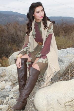 beige UrbanOG vest - dark brown UrbanOG boots - puce UrbanOG dress