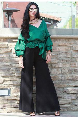forest green UrbanOG blouse - black wide leg pants UrbanOG pants