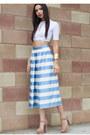 White-urbanog-top-light-blue-urbanog-pants-nude-urbanog-heels