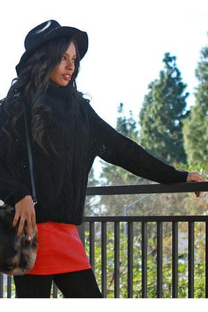 ruby red UrbanOG skirt - black UrbanOG sweater