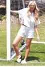 White-urbanog-shorts-white-slide-sandals-urbanog-sandals