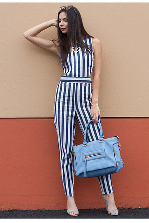 blue UrbanOG purse - navy UrbanOG pants - navy UrbanOG top - light blue heels
