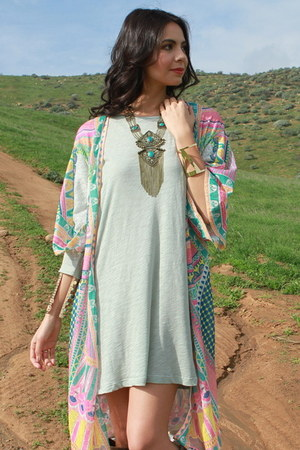 heather gray UrbanOG dress - pink UrbanOG cardigan - bronze UrbanOG necklace