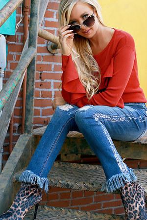 burnt orange sweater top UrbanOG top - blue UrbanOG jeans