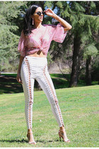 bubble gum mesh top UrbanOG blouse - white lace up pants UrbanOG pants