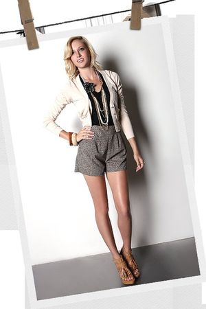 black blouse - beige cardigan - brown shoes - gray shorts
