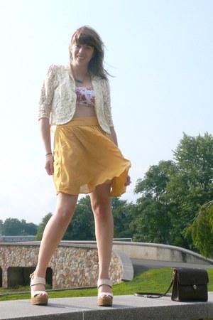 mustard a-line Forever 21 skirt - eggshell eggshell lace Forever 21 blazer