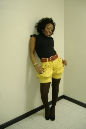 black Aldo shoes - brown DKNY tights - yellow shorts - black Macys blouse