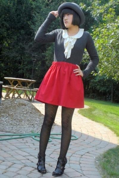 handmade skirt - Forever21 hat - Target tights - H&M blouse