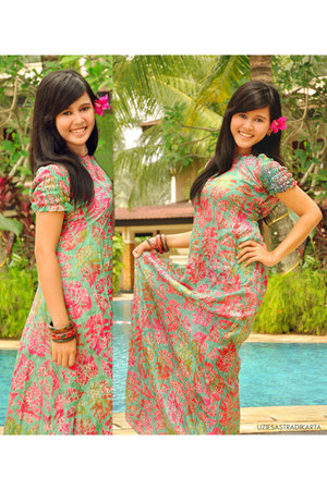 hot pink indonesian batik dress - lime green indonesian batik dress