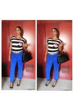 pants - heels - striped blouse