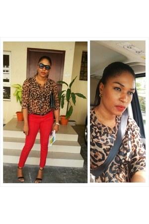 animal print Topshop blouse - black Gap sunglasses - red Gap pants