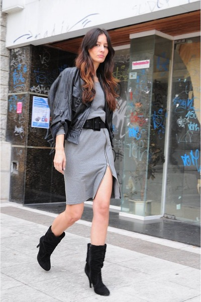 black leather jacket vintage jacket - heather gray Sheinside dress