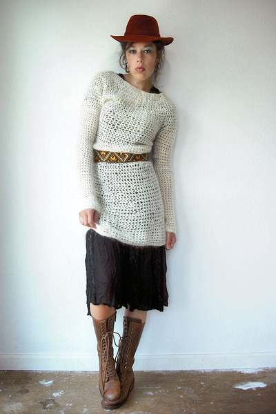 white mohair vintage sweater - brown Dr Martens boots